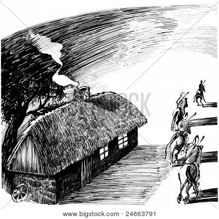 Cottage House And Four Horsemen