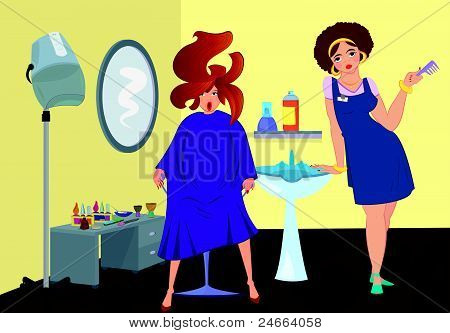 Beauty salon professional and a client near stand up blow dryer
