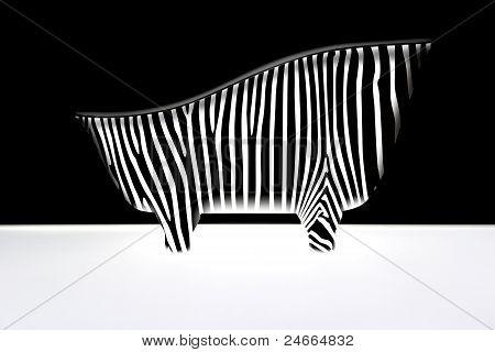 Bad mit Zebra-Streifen