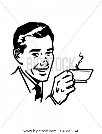 Man With Coffee - Retro Clipart Illustration