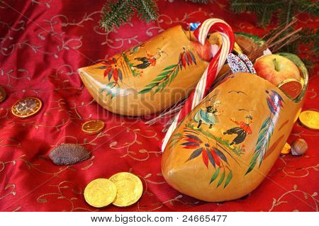 Vintage Wooden Shoes for St Nicholas Day