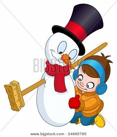 Boy Making Snowman