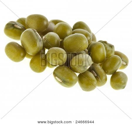 green soja mung beans isolated on white