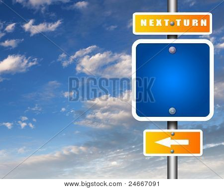 Road sign agaisnt blue sky