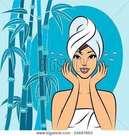 Spa girl during beauty ritual. Beautiful illustration
