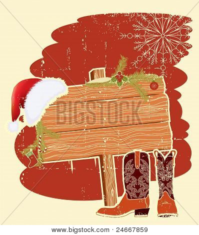 Plakat-Rahmen mit Cowboystiefel und Santa's Red Hat auf Holz Wall.vintage