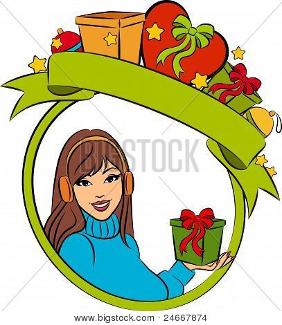 Beautiful girl with Christmas gifts on background