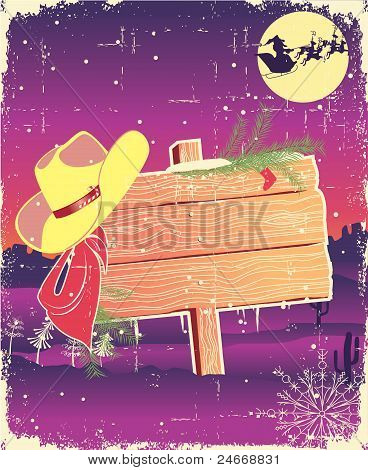Billboard Frame With Cowboy Hat.retro Christmas Background For Text.
