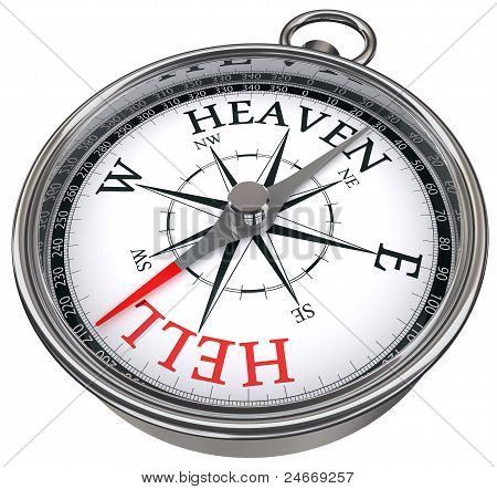 Heaven And Hell Concept Compass