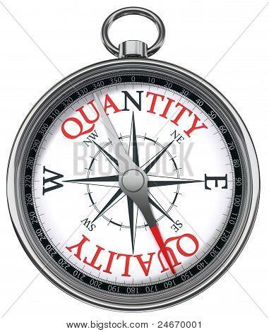 -Qualität und Quantität Konzept Kompass