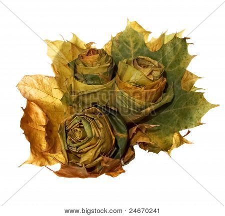 Autumn Bouquet. Roses Made Of Maple Leaves