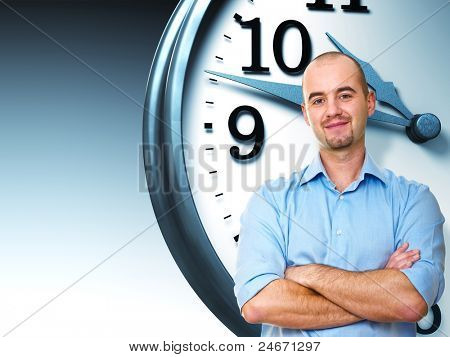 confident man crossed arms and 3d clock