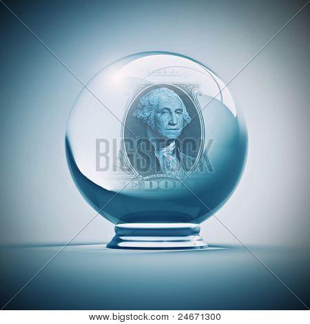 crystal ball with dollar inside