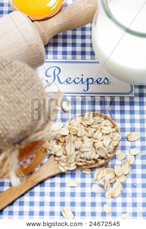 The book of recipes and fresh ingredients for cooking