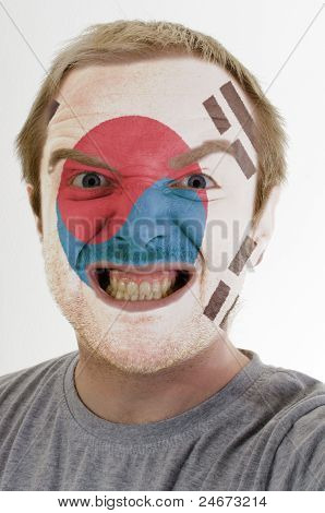 Face Of Crazy Angry Man Painted In Colors Of South Korea Flag