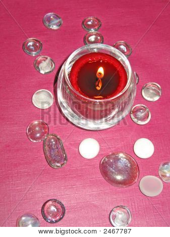 Wedding Candle And Decorative Glass Pebbles