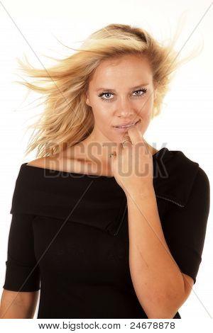Woman Black Dress Hair Blow Finger Lip