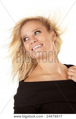 Woman Black Dress Look Side