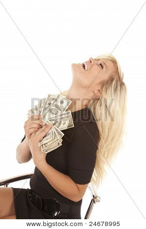 Woman Black Dress Money Laugh