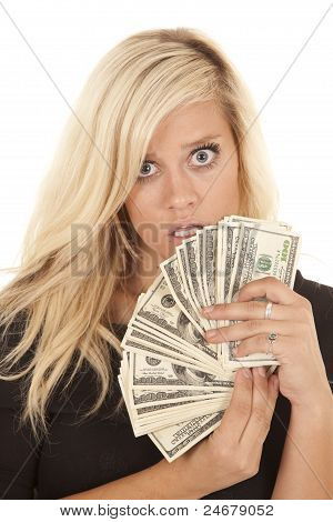 Woman Black Dress Money Shock