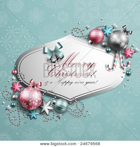 Beautiful blue and pink christmas background. Vector illustration.