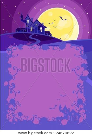Halloween background with a scary house on a hill