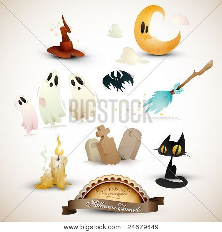 Conjunto de elementos de Halloween | EPS10 Gráfico | Objetos colocados em camadas separadas, nomeadas em conformidade