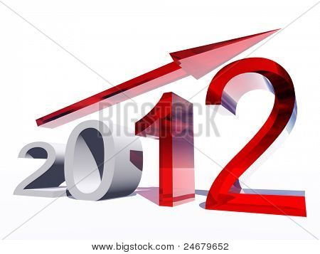 High resolution conceptual 2012 year as a graphic with a red arrow isolated on white background