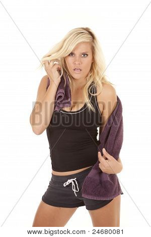 Woman Purple Towel Serious