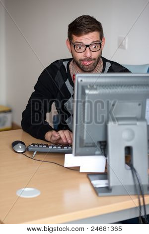 Excited Nerd Using The Computer