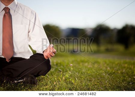 Businessman Meditating In A Park