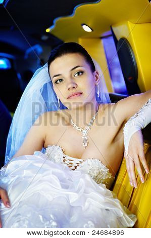 Beauty Bride In Wedding Limousine