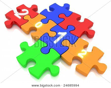 Alphabet jigsaw for new year