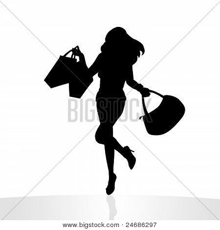 Ilustração de menina feliz compras