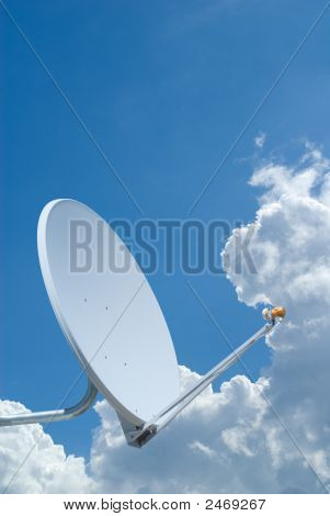 Satellite Dish Set Against A Blue Sky