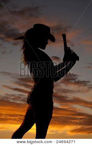 Silhouette Gun Woman Hold