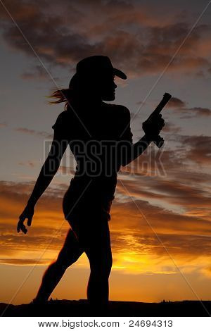 Silhouette Gun Woman Walk