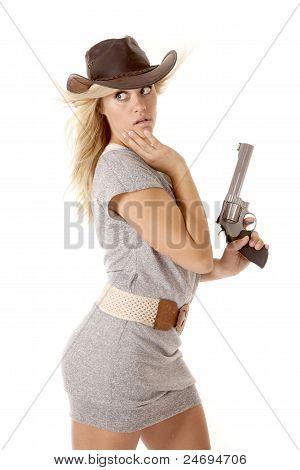 Woman Gun Looking Behind