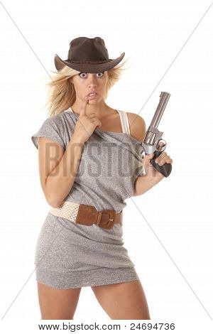 Woman Gun Startled Thinking