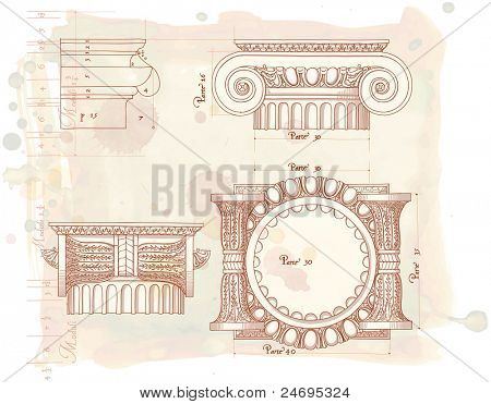 Hand draw sketch ionic architectural order. Bitmap copy my vector id 85338508