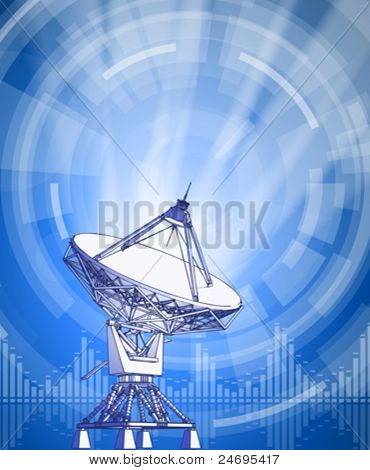 satellite dishes antenna - doppler radar, rays of light & blue radial technology background. Vector illustration / eps10