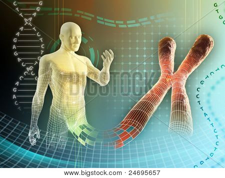 Male figure created by some human chromosome. Digital illustration.