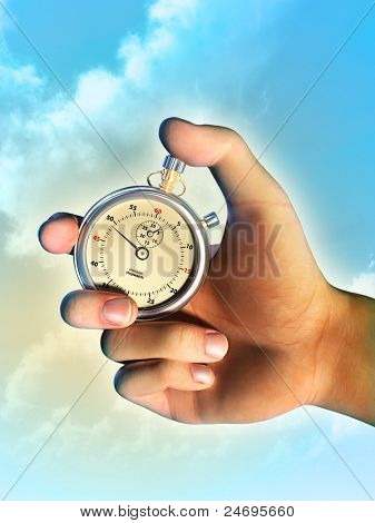 Male hand holding a stopwatch over a bright sky background. Digital illustration.