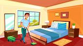 Man Cleaning Room Vector Illustration Of Househusband Or College Boy With Vacuum Cleaner On Carpet.  poster