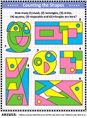 Iq Training Educational Math Puzzle For Kids And Adults With Basic Shapes - Count Ovals, Rectangles, poster