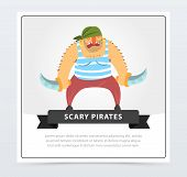 Muscular Pirate, Bearded Filibuster With Sabers Scary Pirates Banner, Flat Vector Ilustration, Eleme poster