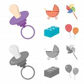 Stroller, Windmill, Lego, Balloons.toys Set Collection Icons In Cartoon, Monochrome Style Vector Sym poster