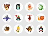 Funny Animals Icon Set. Monkey Face Funny Bee Bat Octopus Snail Penguin With Heart Balloon Penguin W poster