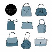 Elegant And Trendy Vintage Bags, Clutches And Purses Ink Set. Hand Drawn Vector Illustration Colored poster