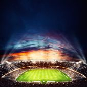 Football Stadium With Light Effects. 3d Rendering poster